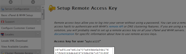 How to setup your Remote Access Key in WHM?
