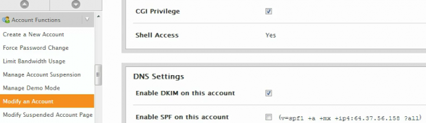 How to modify an account in WHM?
