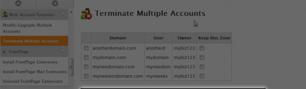 Using Multi-Account Functions in WHM