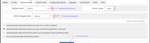 Enabling WHMCS cPanel Module for hosting packages